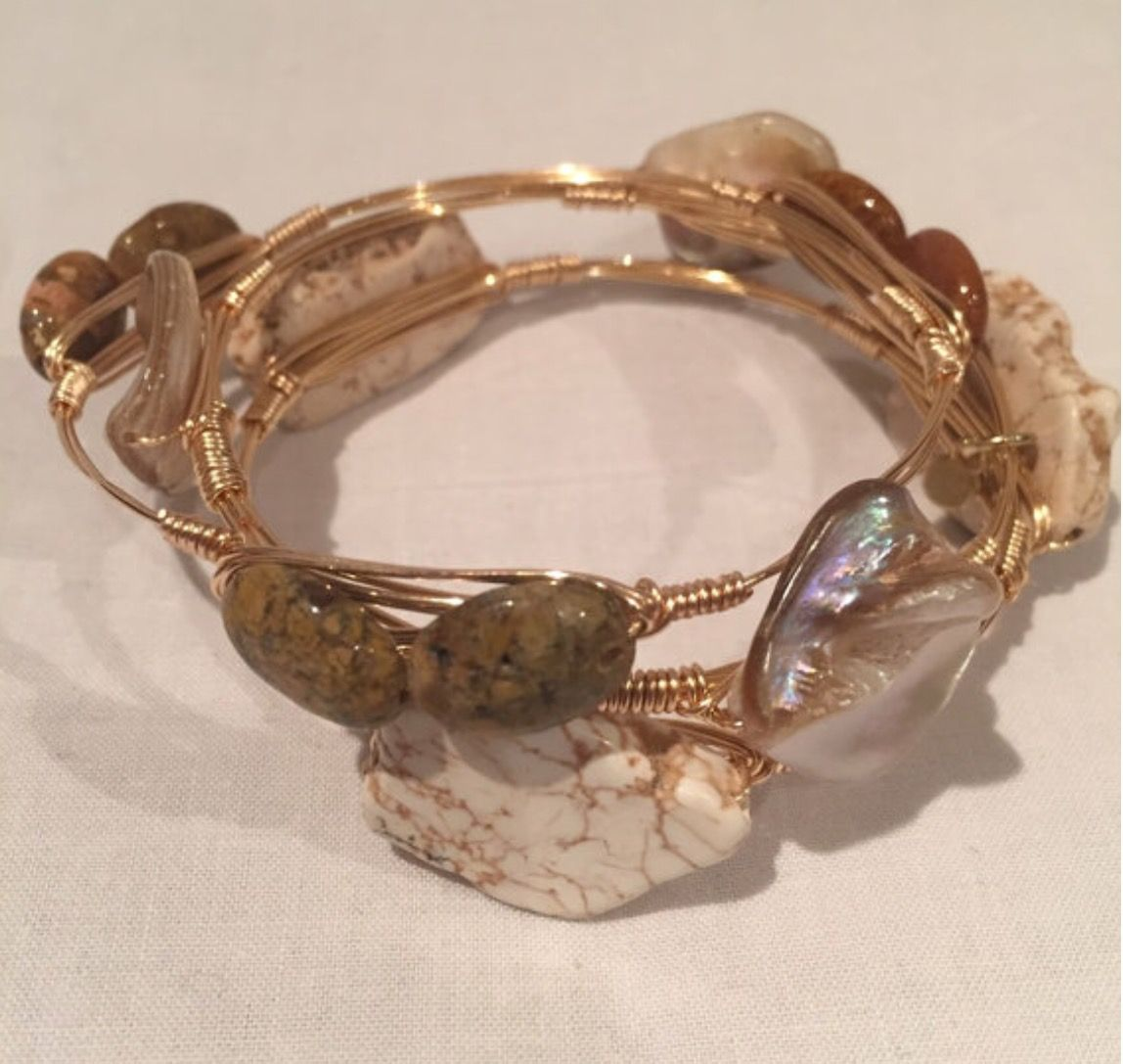 Neutral stone Bangle | Wire Bangles: Silver and Gold | Pinterest