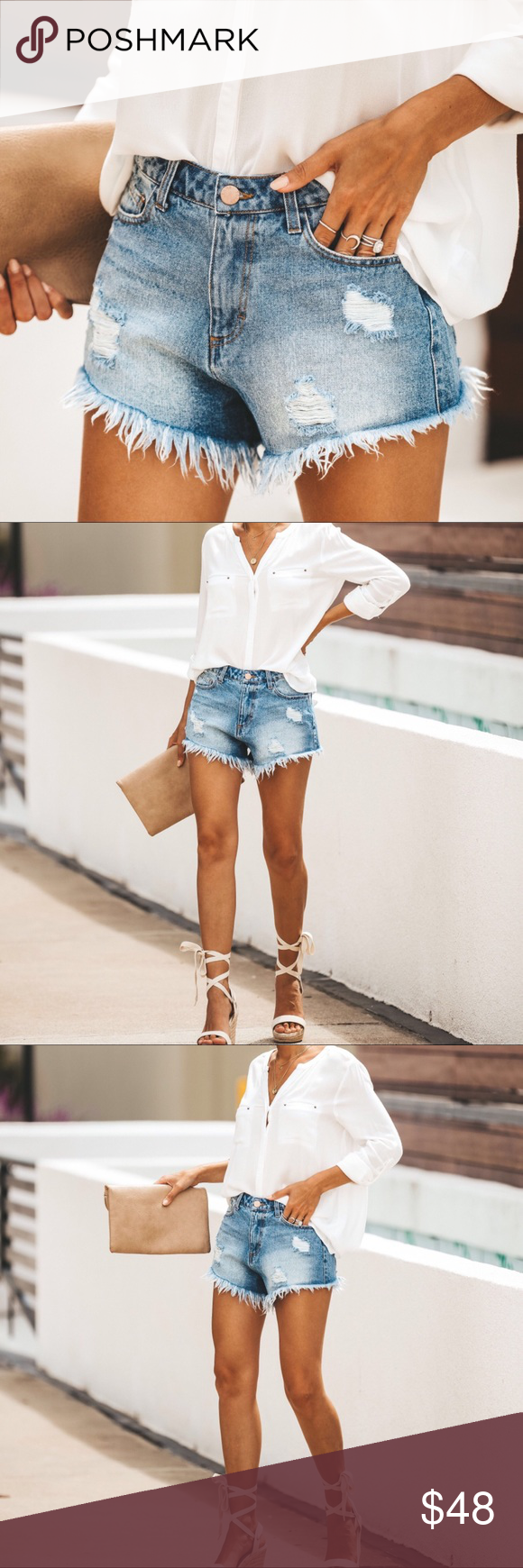 """JUST IN‼️ Shelby Frayed Cutoff Shorts Same great style as the Colby grey wash but with a cool vintage wash! A high rise cut off that sits relaxed on the hip for a perfect fit. Front and back distressing with a hand frayed hemline.  ▪️ High Rise-Meant to Sit Relaxed Lower on Hip ▫️ Front Distressing-Subtle Back Distressing ▪️ Classic 5 Pocket ▫️ 100% Cotton ▪️ Fading Throughout  ▫️ No Stretch ▪️ Medium Wash-Vintage Relaxed Fit ✔️ Please Note. Inseam ranges from 2.5""""-3"""" on any given pair-each is h #denimcutoffshorts"""