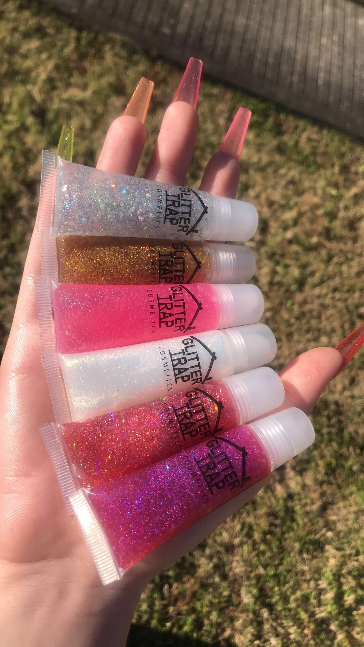 Diamond Cluster Clear Lipgloss With Glitters Clear Lip Gloss