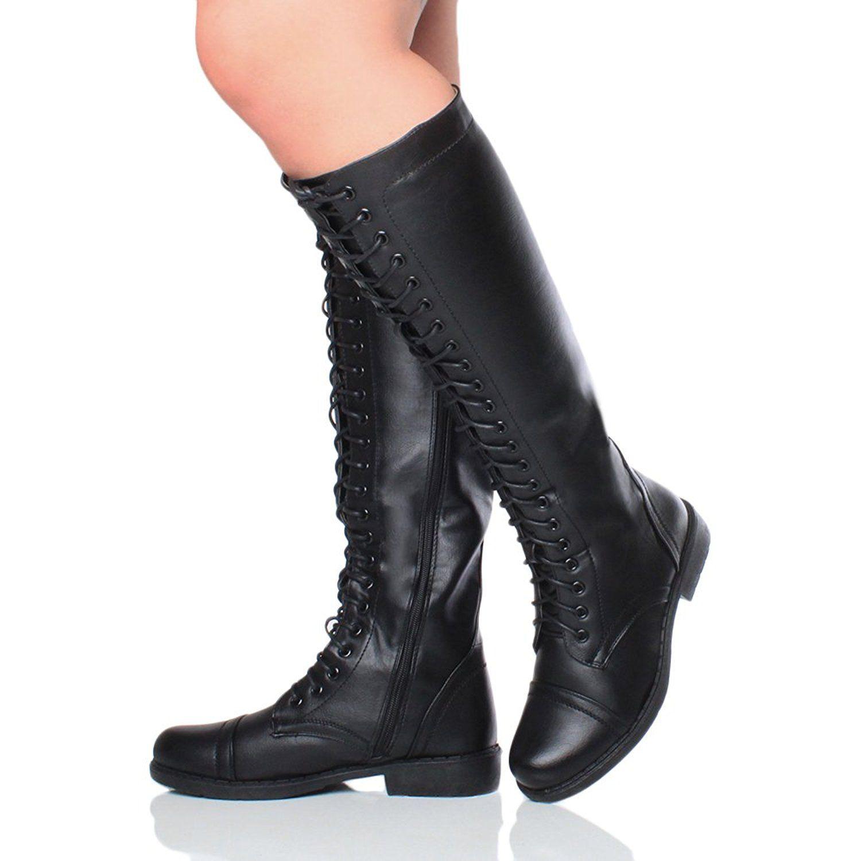 Womens ladies mid block chunky heel zip buckle strap biker high calf knee boots