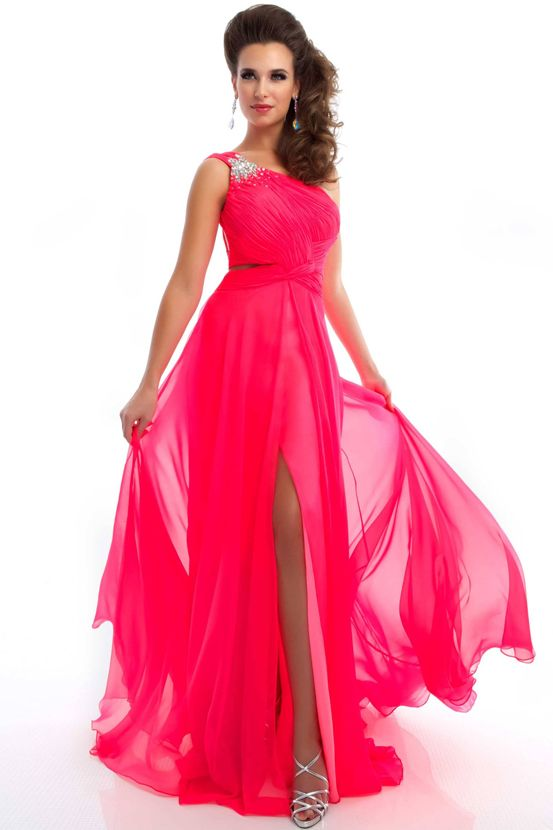 One Shoulder Neon Pink Open Back Prom Dress - Prom Dresses - Mac ...