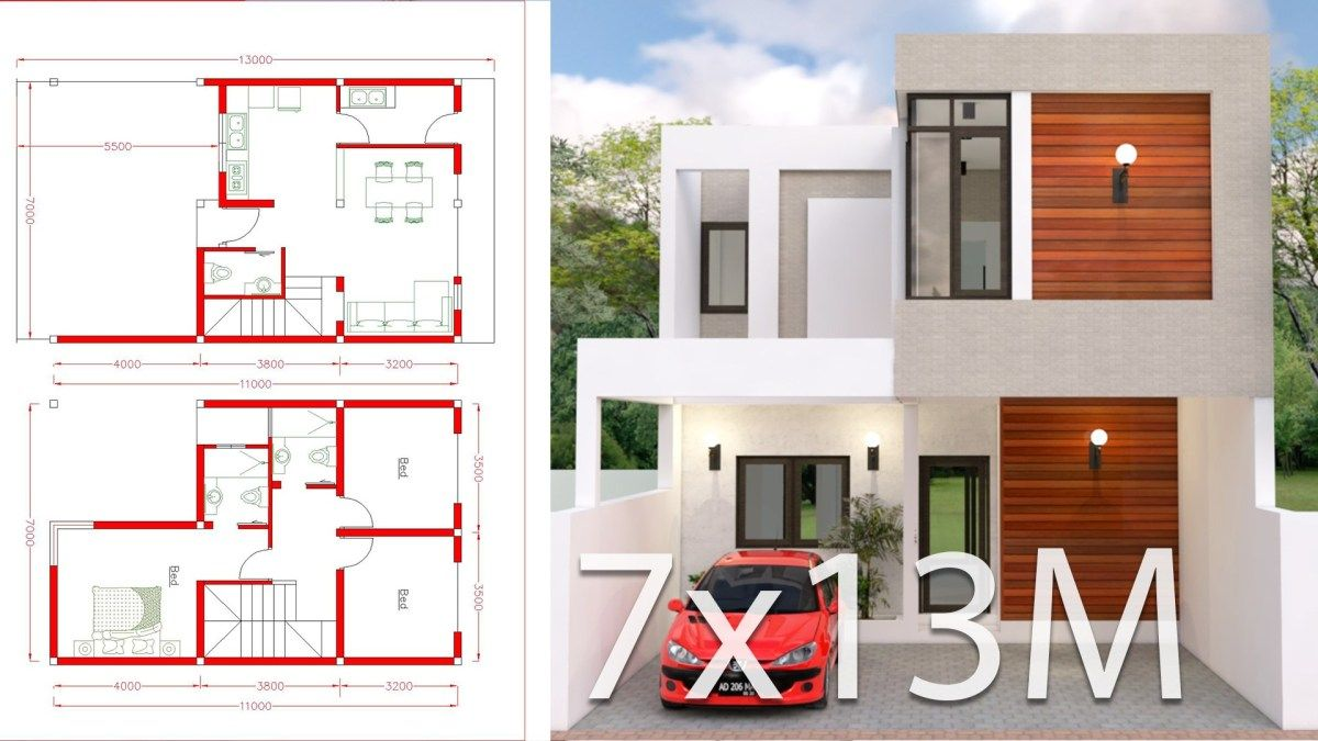 House Design Plan 7x13m With 3 Bedrooms The House Has 2 Car Parking Small Garden Living Room Din Small House Design House Layout Plans Duplex House Plans