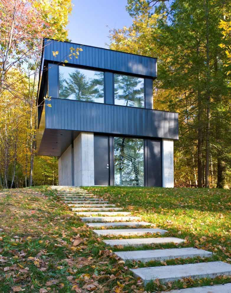 Modern Forest House two part cantilevered lake house - encore! | danau,  modern,