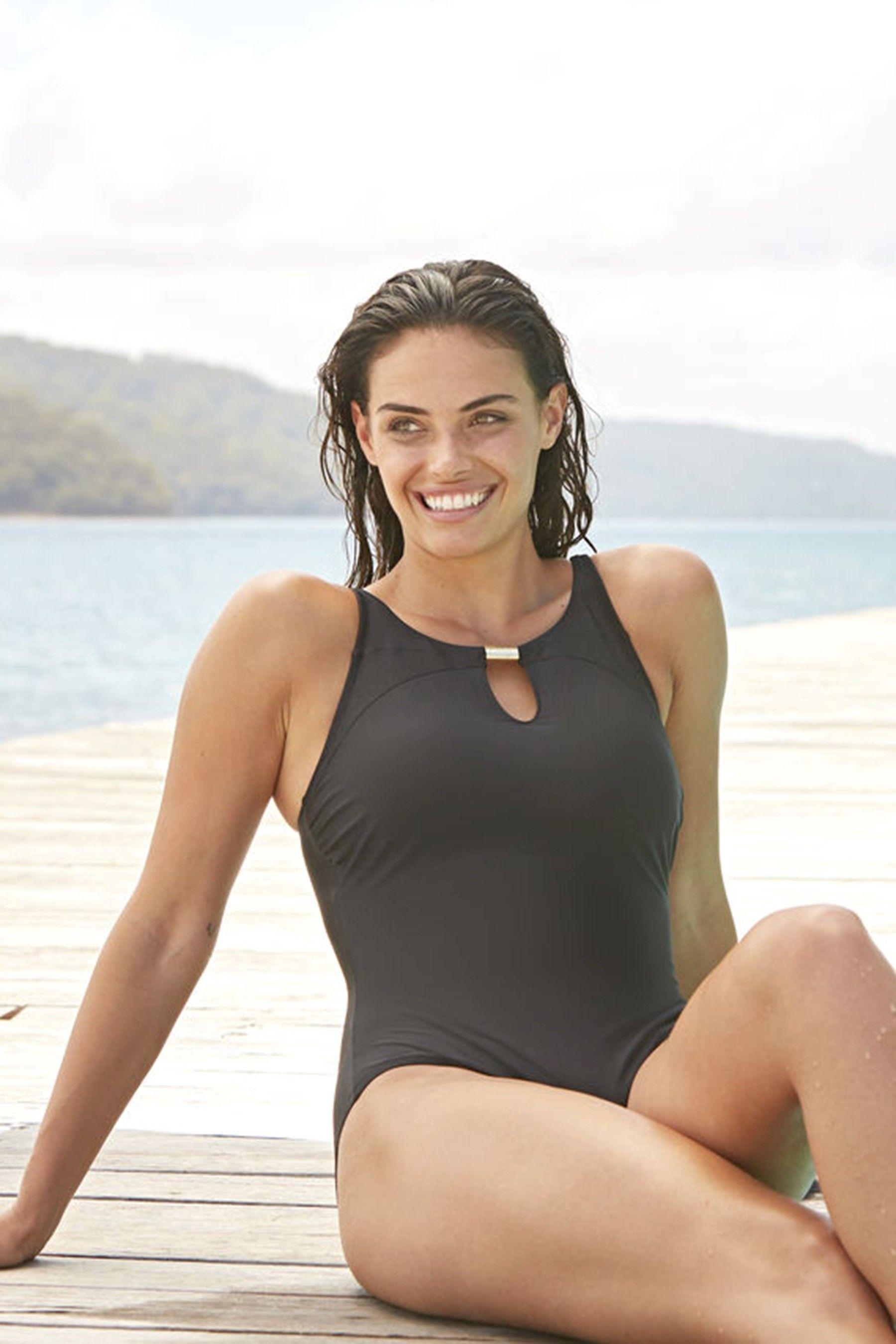 438555e833f Womens Zoggs Mystique Wall Flower Classic Back Swimsuit - Black ...
