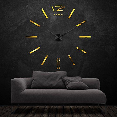 XXL3D Riesige Spiegel Wanduhr Vinyl DIY Ø 130cm Große XXL Design Uhr ...