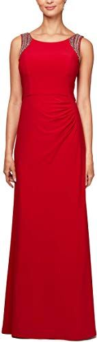 Alex Evenings Womens Beaded Scoop Back Dress with Side Ruched Skirt
