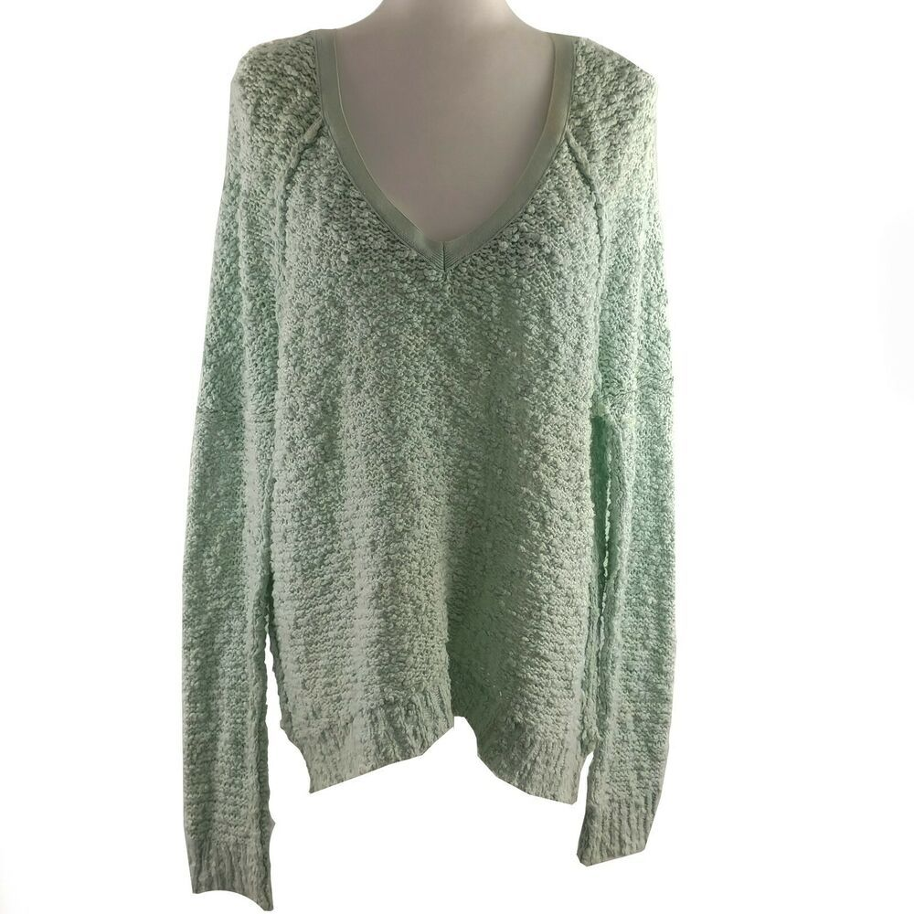 Free People Sweater Womens Size Small Green Long Sleeve V Neck Open Chuncky Knit Freepeople Pullover Sweaters For Women Free People Sweater Outerwear Women [ 1000 x 1000 Pixel ]