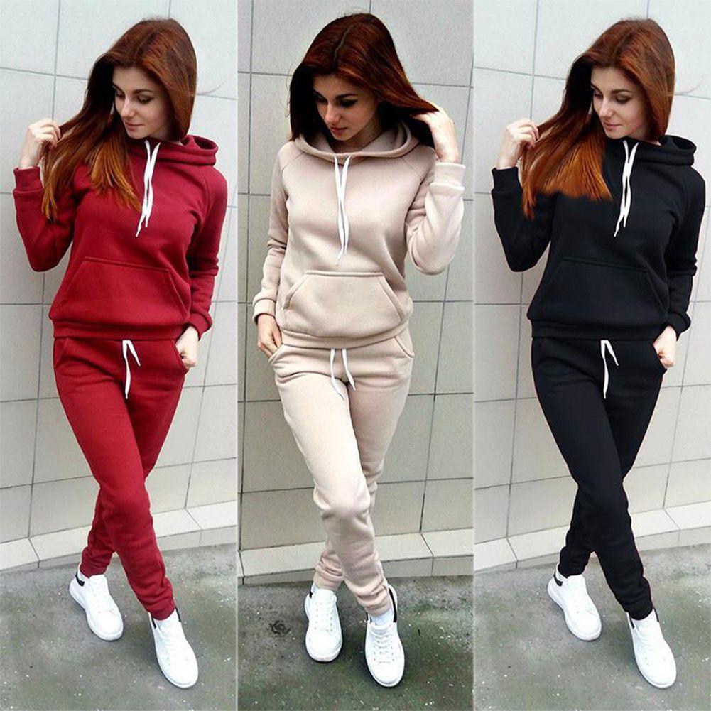 a6968e793e54f 2Pcs Women Tracksuit Hoodies Sweatshirt Pants Set Sport Gym Wear Casual  Suits