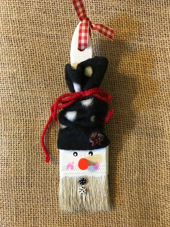 Snowman Paint Brush Ornament by BrushPileArt on Etsy