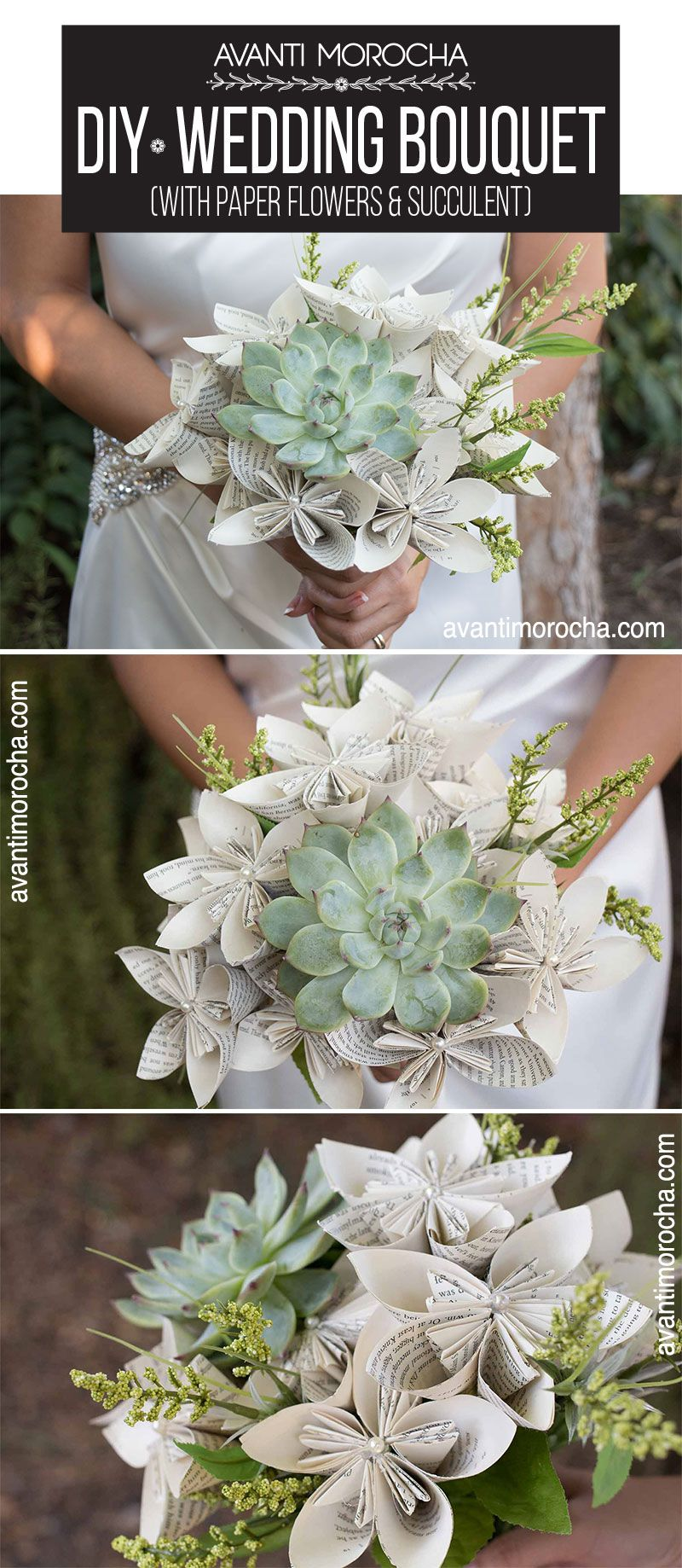 DIY Wedding Bouquet with Paper Flowers and Succulent Diy