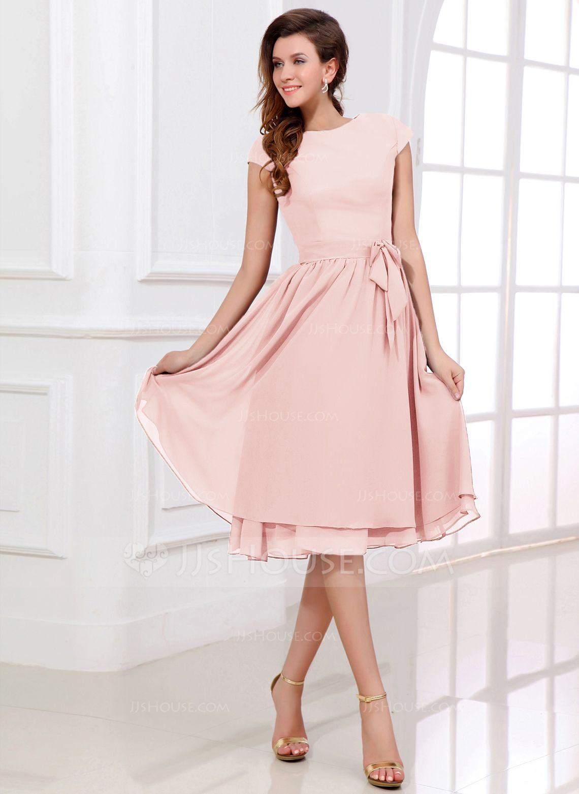 Chiffon Knee-length Bridesmaid Dress with Cap Sleeves And Sashes ...
