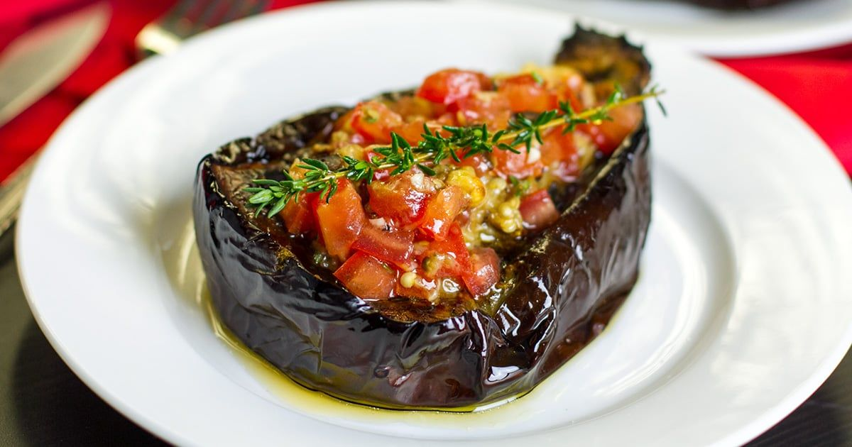 This Paleo Eggplant Recipe Is A Delicious Combination Of Roasted Eggplant Boats Filled With Thyme A Baked Eggplant Stuffed Eggplant Vegetarian Eggplant Recipes