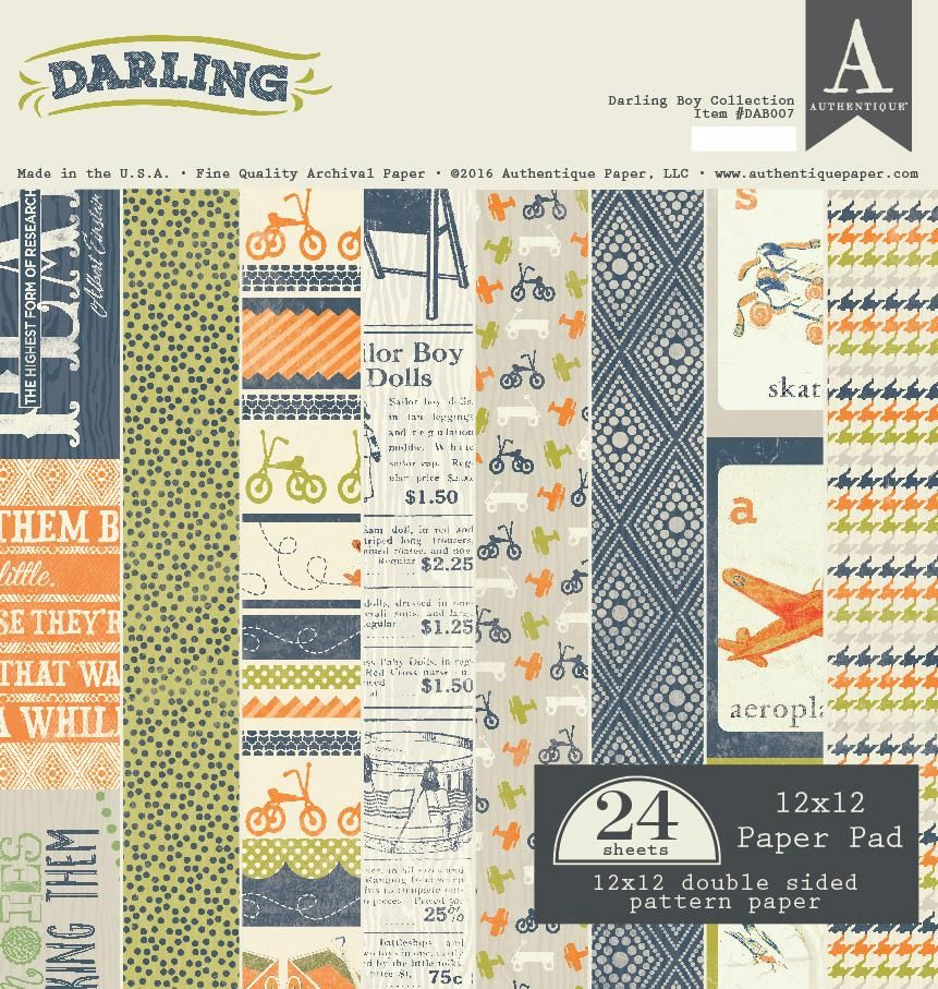 Authentique Darling Boy 12x12 Scrapbook Paper Pad 24 Sheets