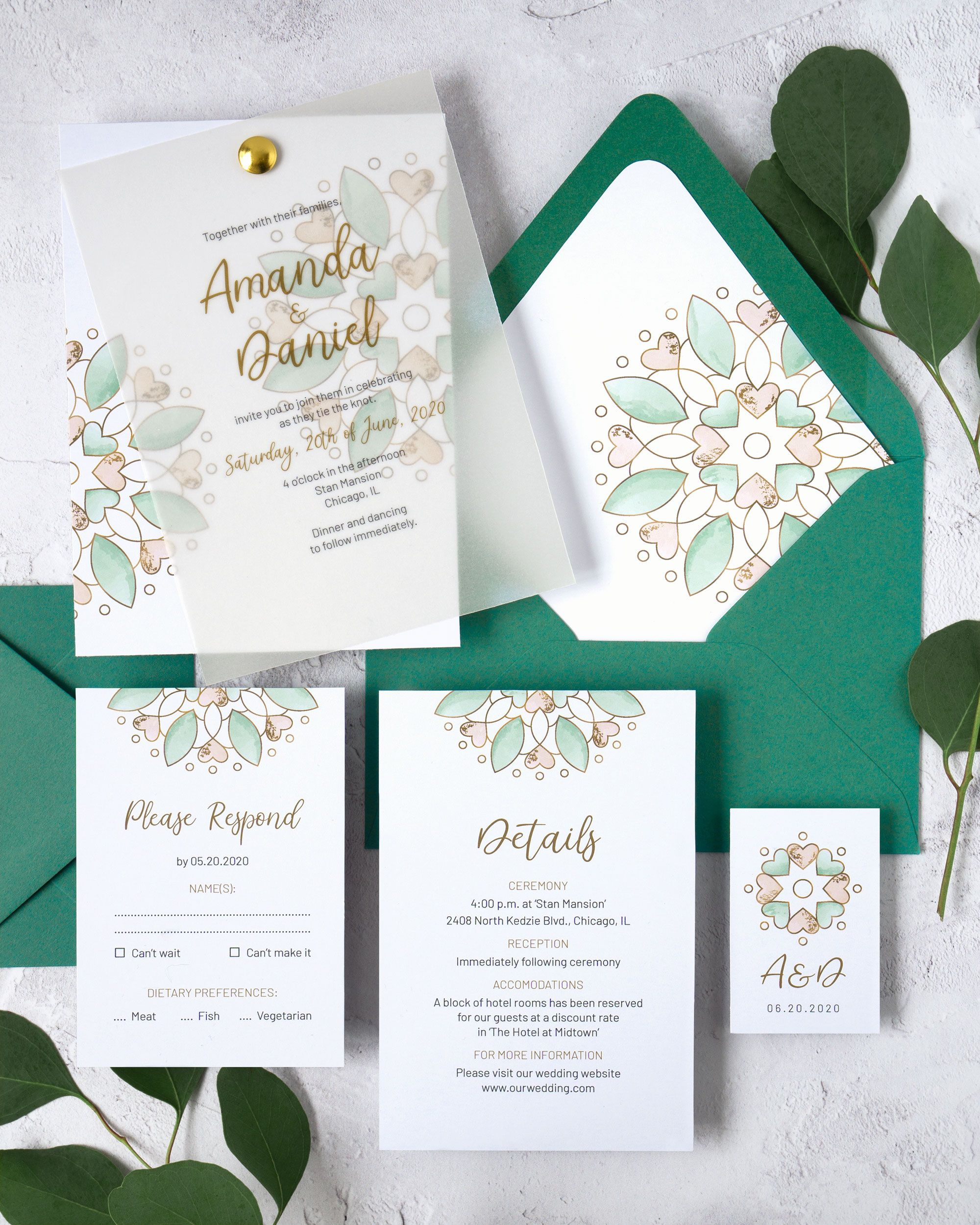 Watercolor Wedding Invitation Template Modern Calligraphy And Faux
