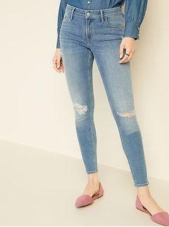 Mid-Rise Rockstar Super Skinny Jeans for Women #skinnyjeansandankleboots