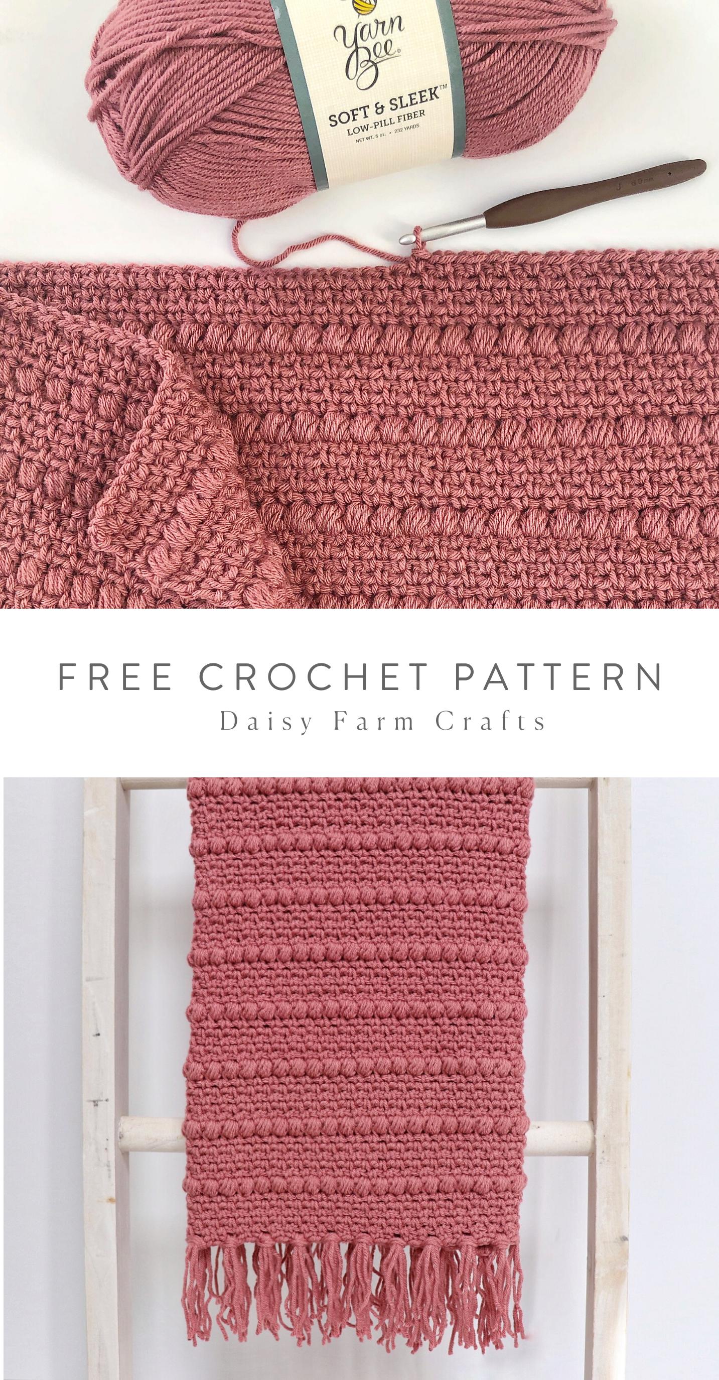 Free Pattern  Crochet Boho Puff Stripes Blanket