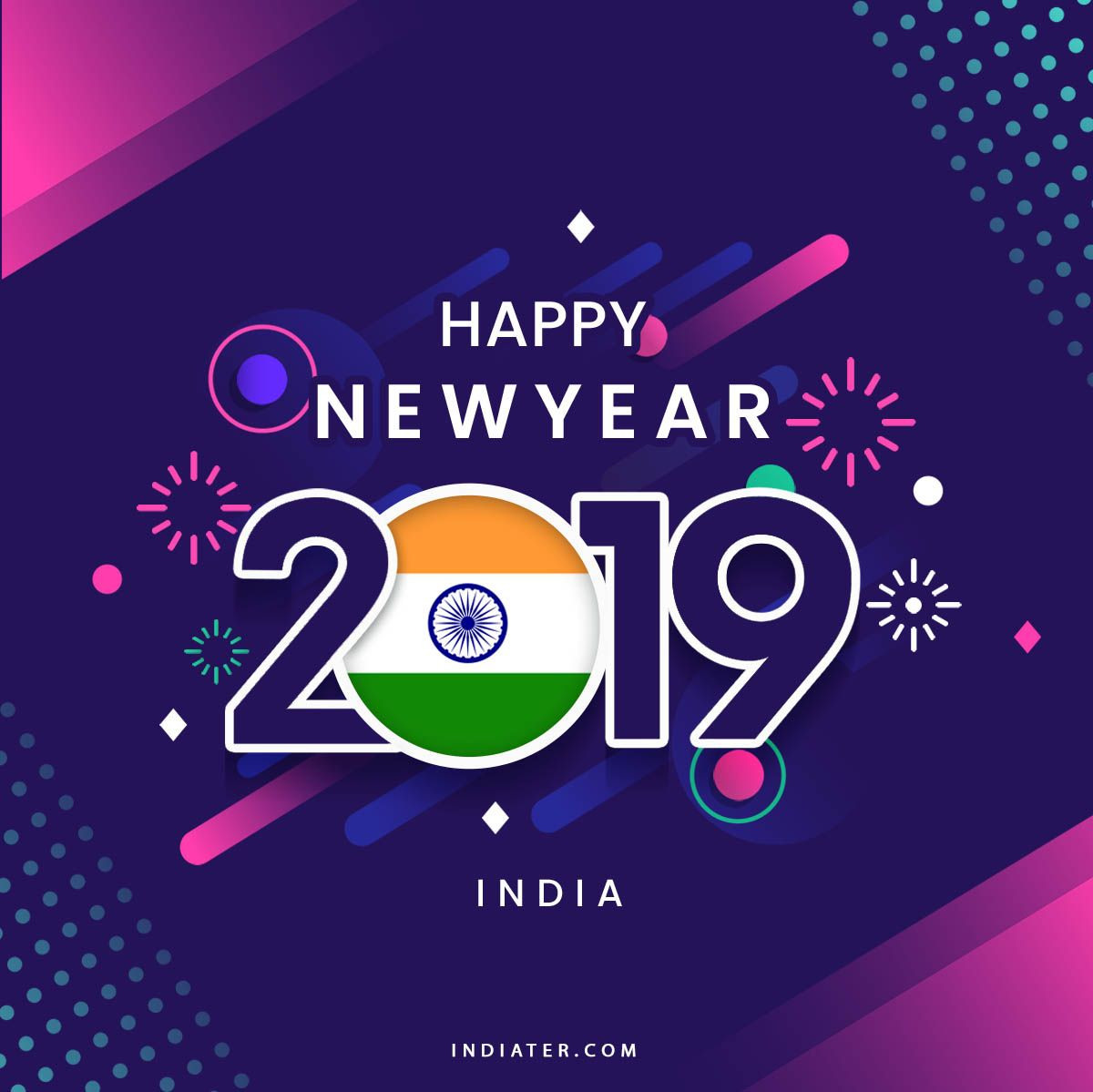 Happy New Year 2019 Wishes Greeting With Indian Flag Happy New Year 2019 Happy New Year Wishes Happy New Year Design