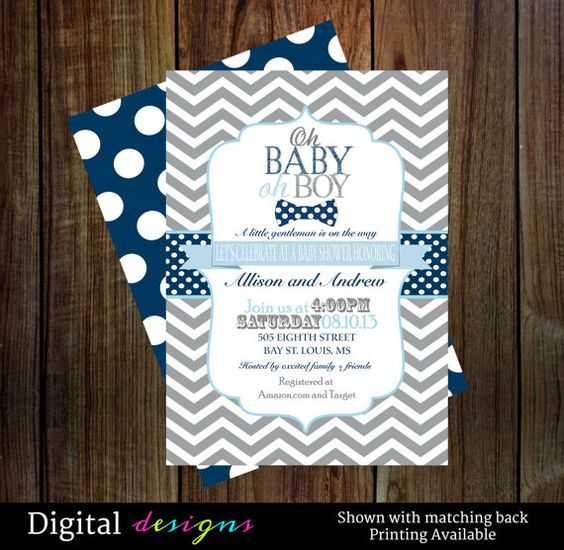 Baby boy shower invitations with bow tie in navy blue gray digital baby boy shower invitations with bow tie in navy blue gray digital printable file a stylish bow tie theme baby shower invitation filmwisefo