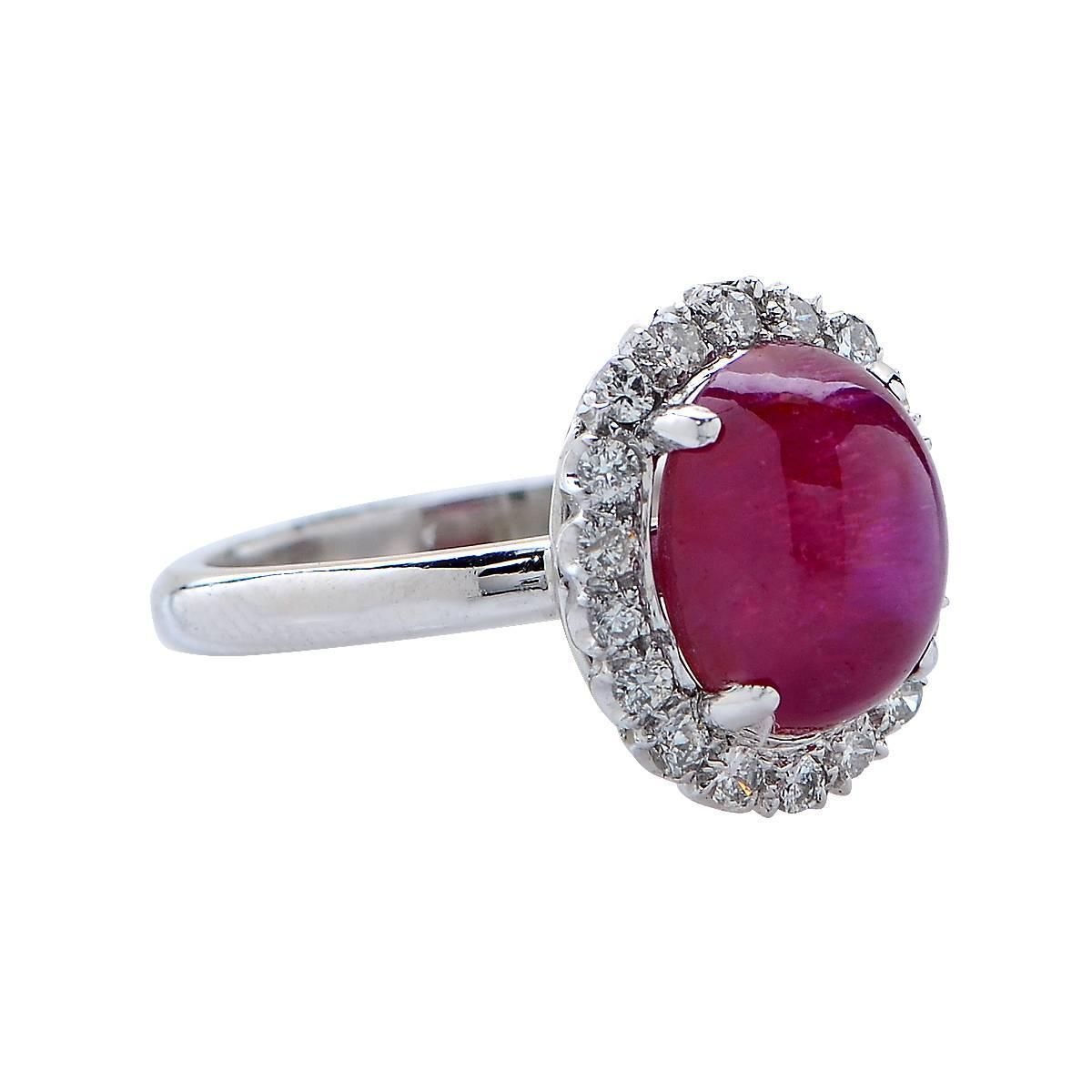 3.25 Carat Star Ruby Diamond Platinum Ring | From a unique collection of vintage fashion rings at https://www.1stdibs.com/jewelry/rings/fashion-rings/