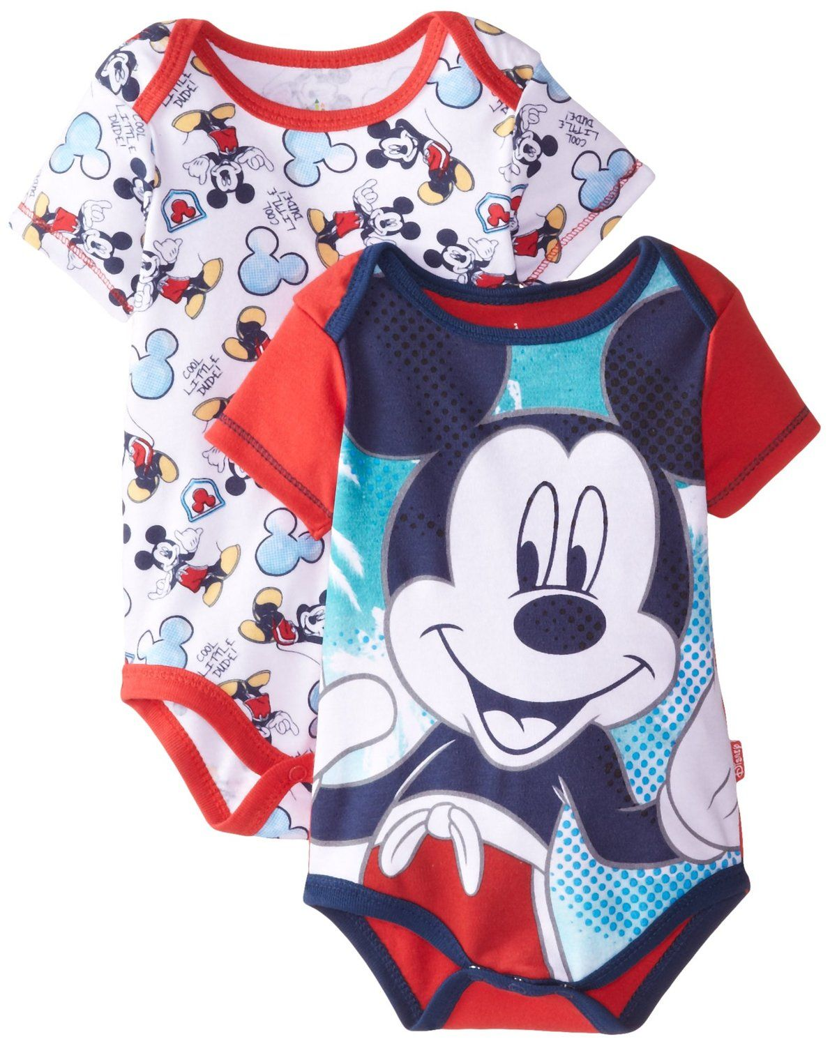 cce71b8bd Amazon.com: Disney Baby Baby-Boys Newborn Disney Mickey Mouse Adorable Soft  2 Pack Bodysuits: Clothing