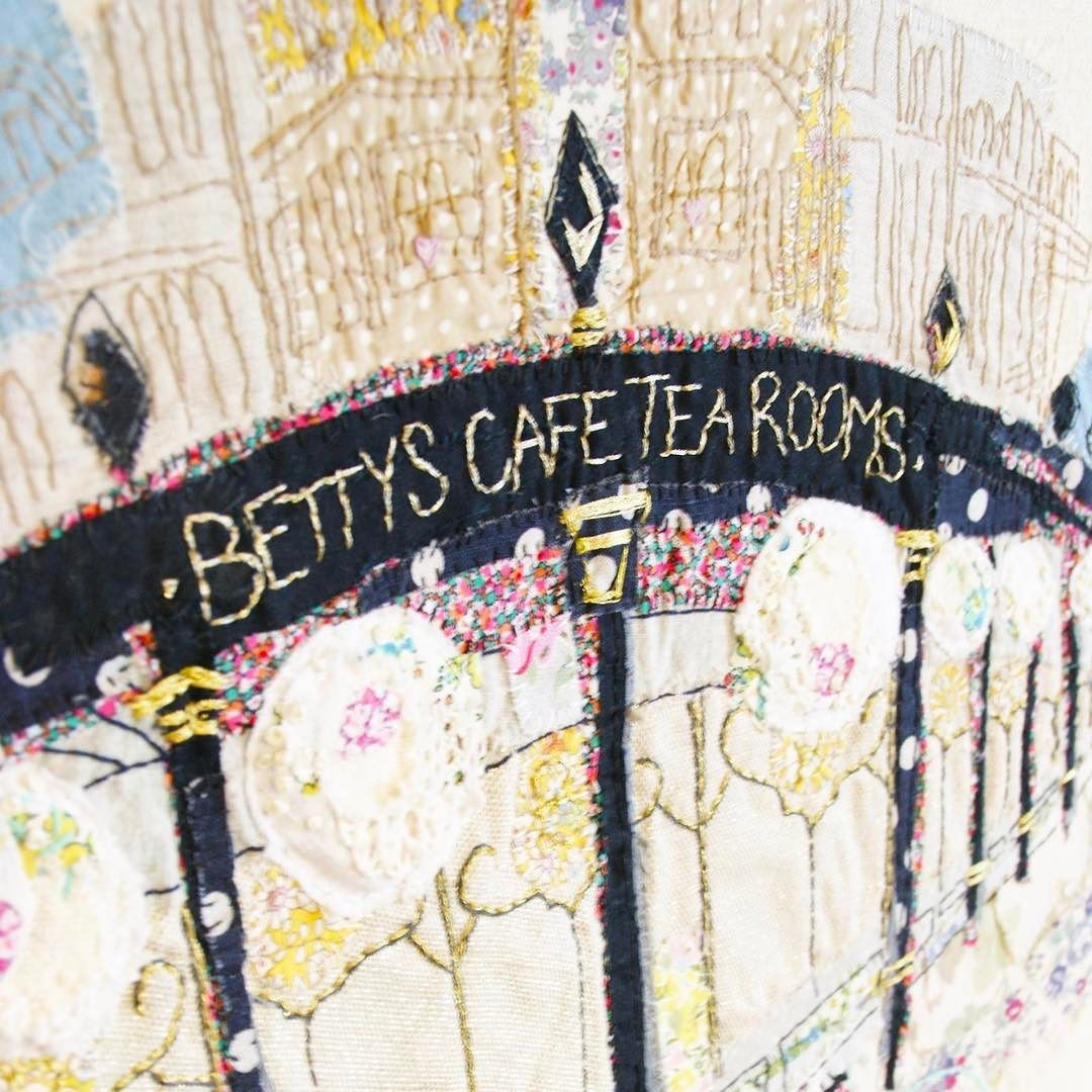 Here's an oldie for you. @bettys1919 #harrogate . One of the first large #handembroidery pieces I made. I still get requests for the best machine to use. I DON'T use a machine I hand embroider everything from start to finish. I enjoy seeing the progress I've made over the years.  #contemporaryembroidery #broiderie #broidery #handstitched #madebyhand #embroideryart #stitchedlandscape #stitchersofinstagram #marnalunt #embroideredbuilding