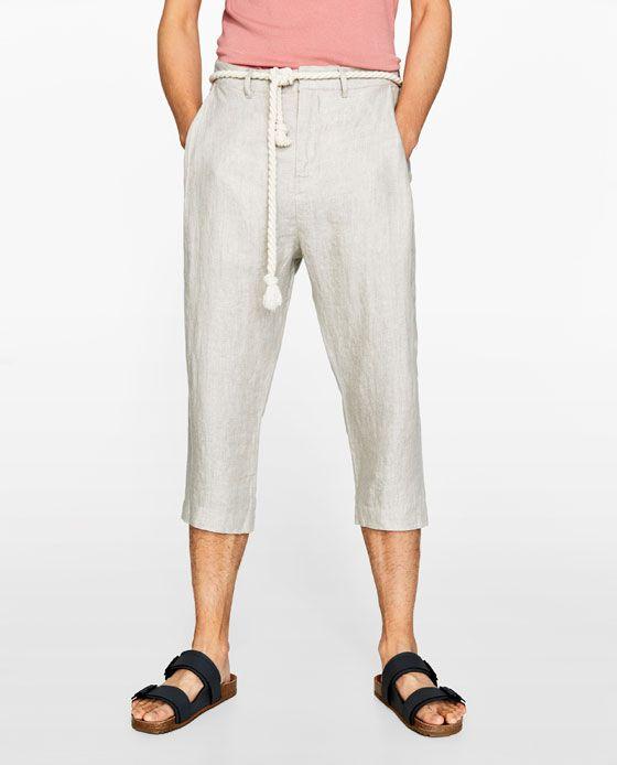 Imagen 2 De Pantalon Lino Cordon De Zara Pantalones Pantalones De Lino Zara
