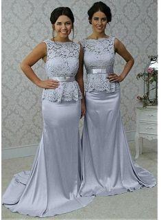 chic silber abendkleider lang mit spitze kleider für brautjungfern günstig modellnummer xy101