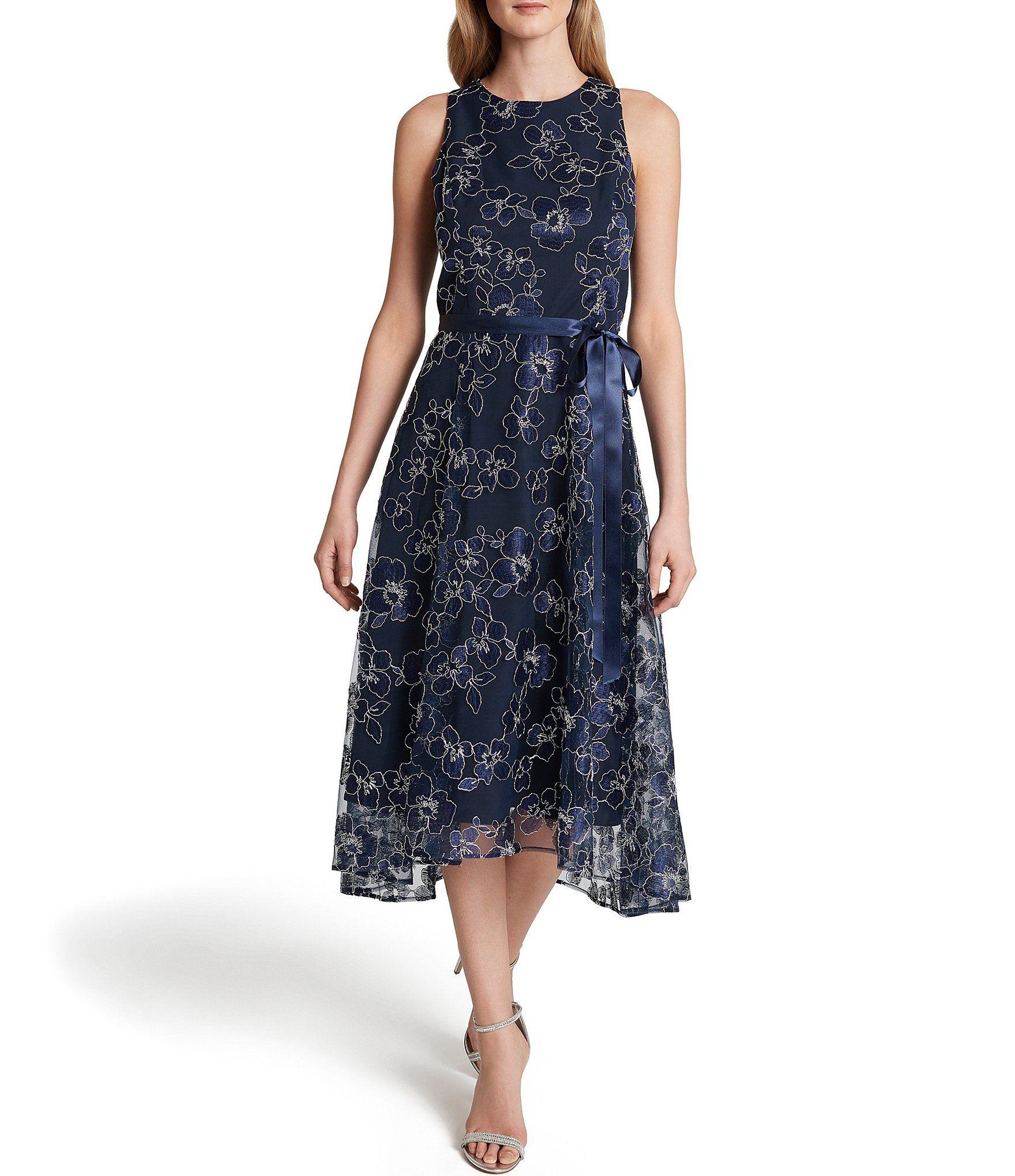 Shop For Tahari Asl Floral Embroidered Mesh Satin Ribbon Tie Waist Midi Dress At Dillard S Visit Dillard S To Find Clothing Accessories S