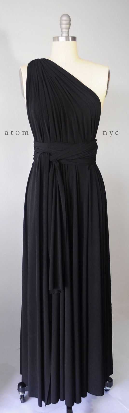 Black long maxi infinity dress gown convertible formal multiway wrap