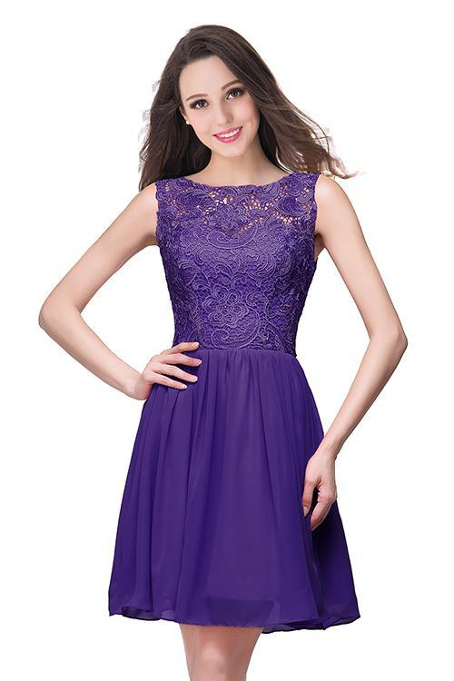AA| Chicloth A-Line Short Sleeveless Bateau Chiffon Ruffles Lace Top Prom Dresses,#promdressuk,#quinceaneradress,#champagne,#tulle,#lace,#cheap,#ballgown #chiffonshorts