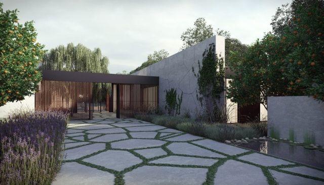 vorgarten einfahrt asymmetrische steinplatten gras zwischen zufahrt pinterest einfahrt. Black Bedroom Furniture Sets. Home Design Ideas