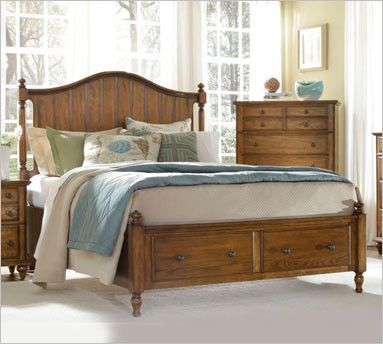 Broyhill Hayden Place 4645 Oak Panel Bed with Storage | Platform bed ...