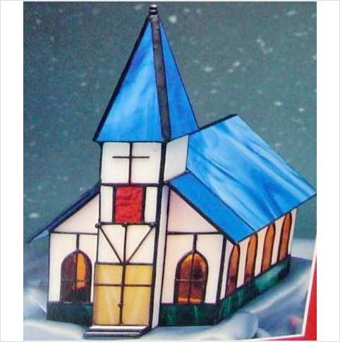New Big Crystal Village Stained Glass Church Electric Lamp Light