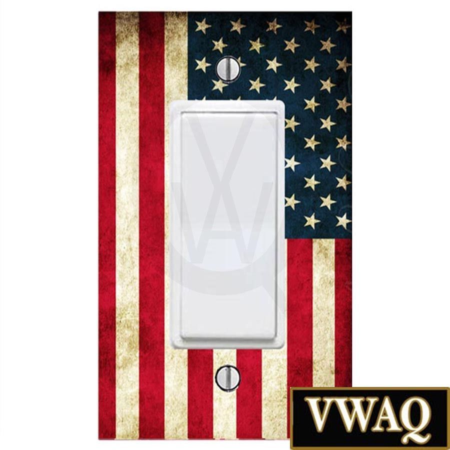 American Flag Light Switch Cover Wall Decals Rocker Style Switch ...