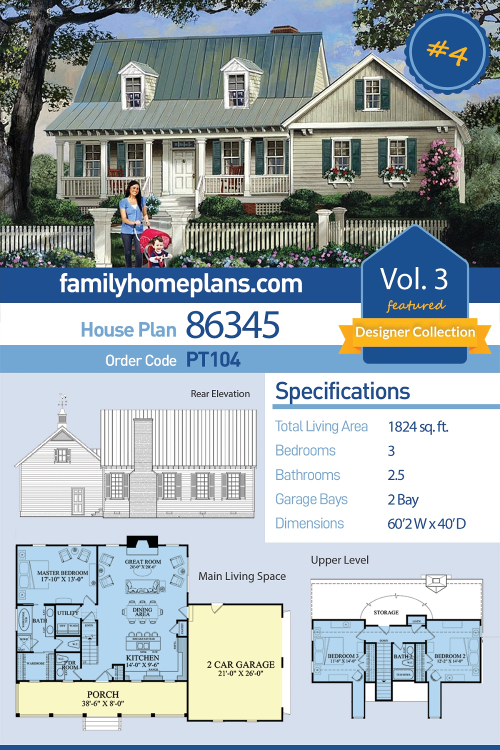Southern Style House Plan 86345 With 3 Bed 3 Bath 2 Car Garage Family House Plans House Plans Country House Plans