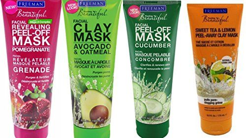 Photo of Freeman Facial Mask Bundle, 6 fl oz (Pack of 4) includes 1-Tube Sweet Tea & Lemon Peel-Away Clay Mask, Cucumber Facial Peel-off Mask, Avocado & Oatmeal Facial Clay Mask, Pomegranate Facial Mask