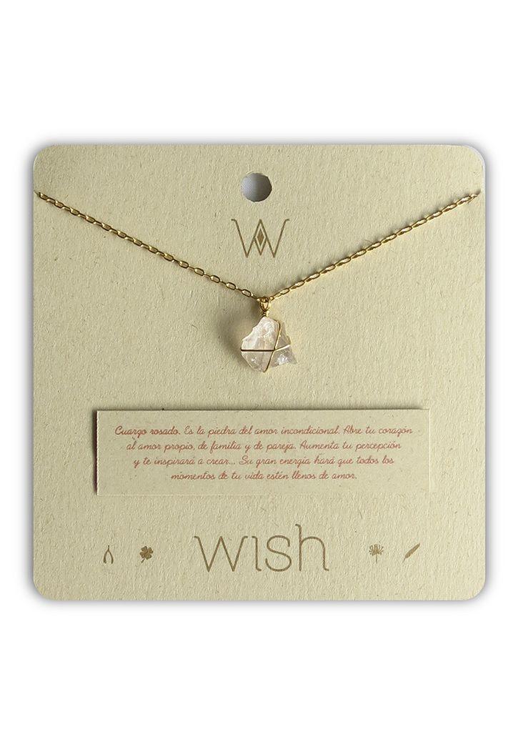35f5dd2356a6 Collar Cadena Oro Cuarzo Rosado Piedra del Amor Incondicional. Marca Wish