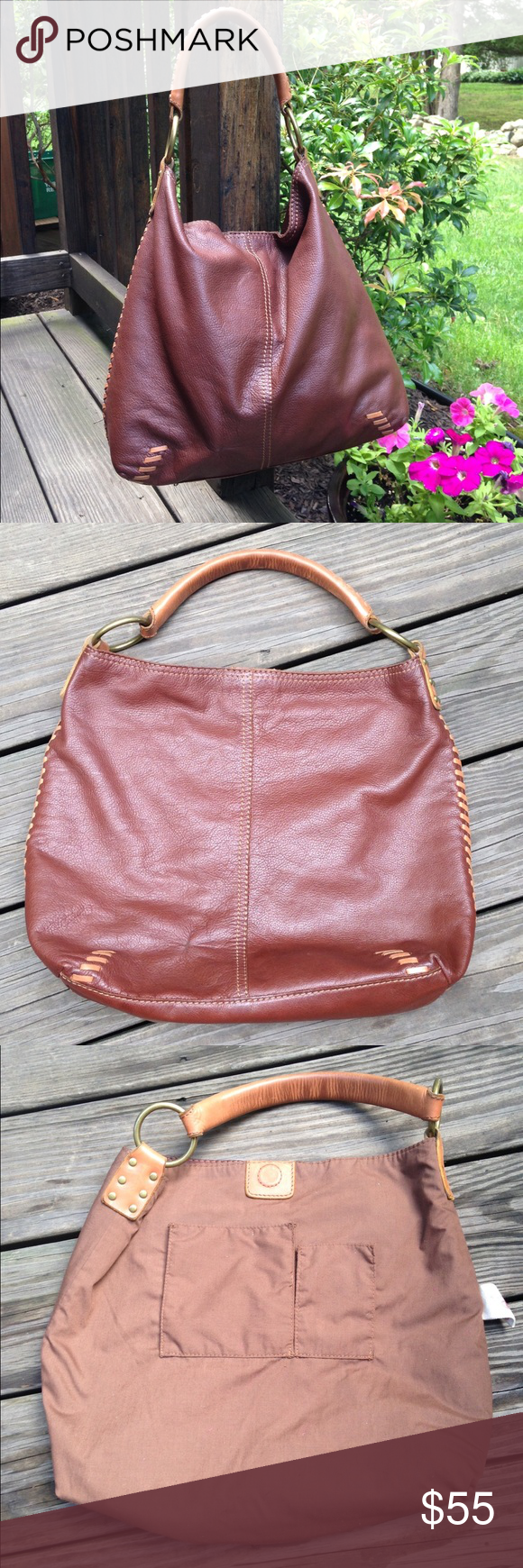 Lucky Brand Slouchy Hobo Vintage Lucky Brand Whipstitch Slouchy Hobo Tote  Bag in Bourbon Brown color cb000eb097