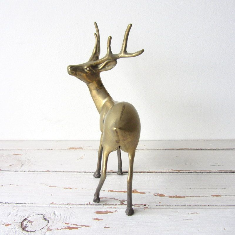 Vintage brass deer figurine woodland decor items for - Home interior deer pictures for sale ...