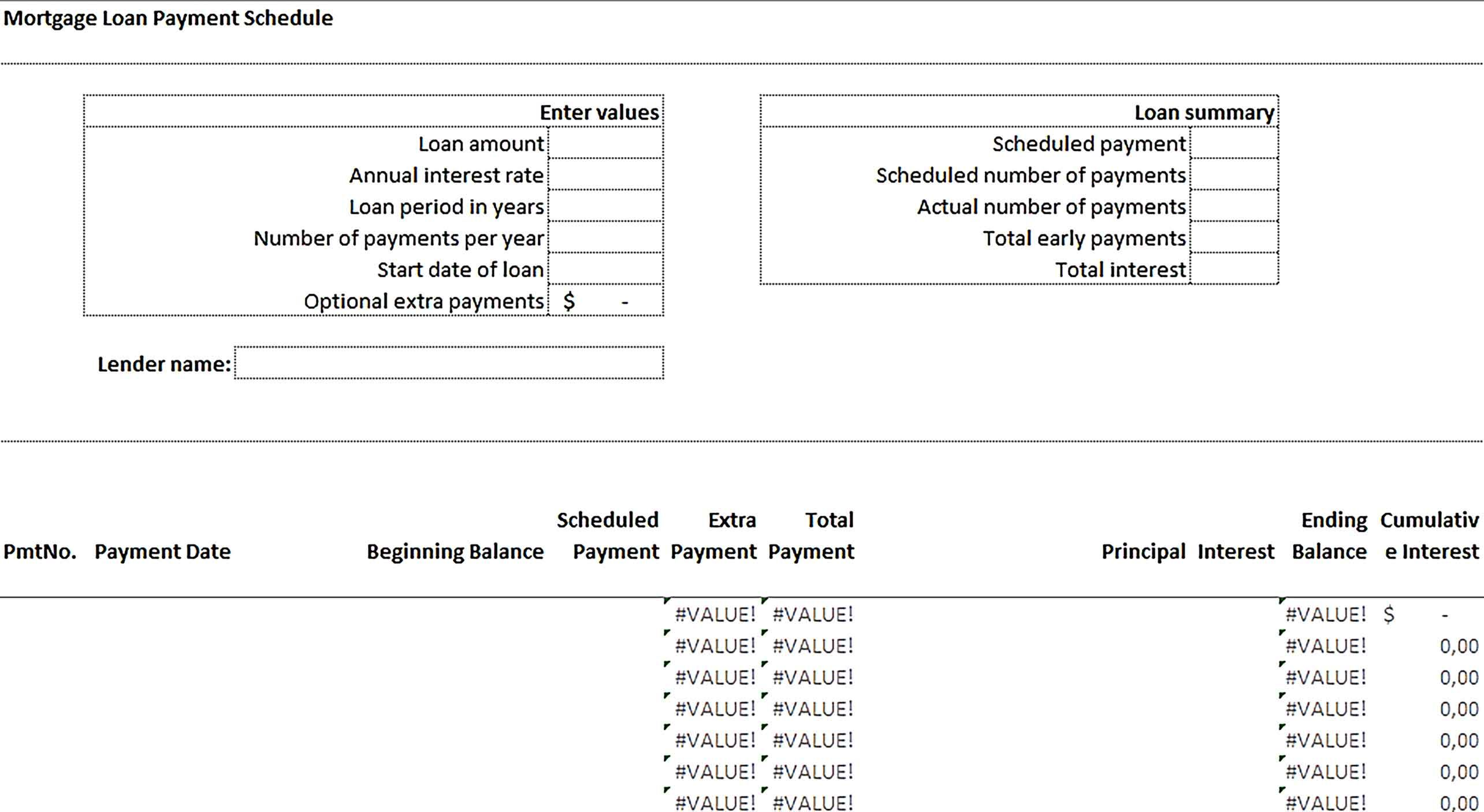 Sample Mortgage Payment Schedule Template Mortgage Loan