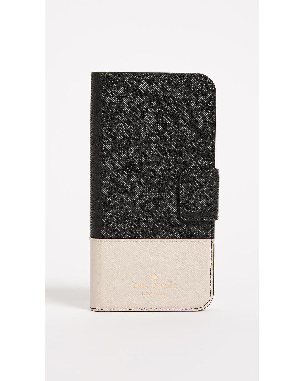 Kate spade black leather wrap folio iphone x xs case