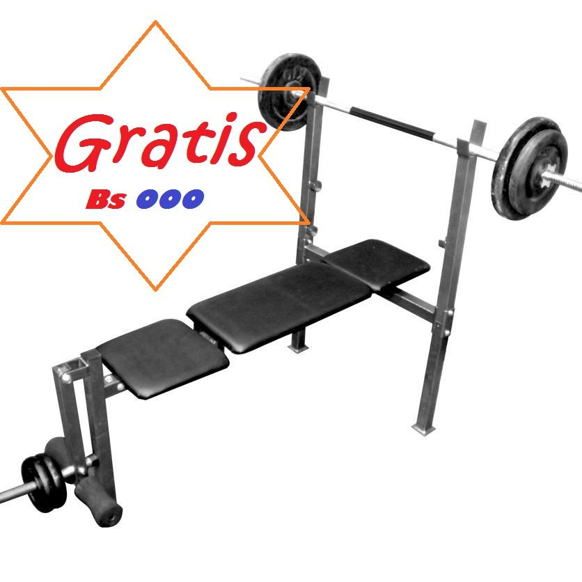 con la compra de tu barra paralelas, llévate totalmente gratis un fabuloso banco para pesas. tlf. 0426.614.8080 (sin pesas)