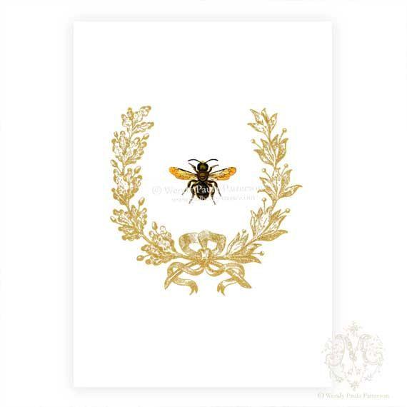 Bee Home Decor: French Bee Art Print, Acorn, Wreath, Poster, Giclee
