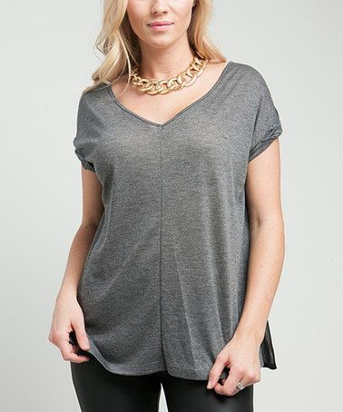 Loving this Gray Sheer-Back V-Neck Top on #zulily! #zulilyfinds