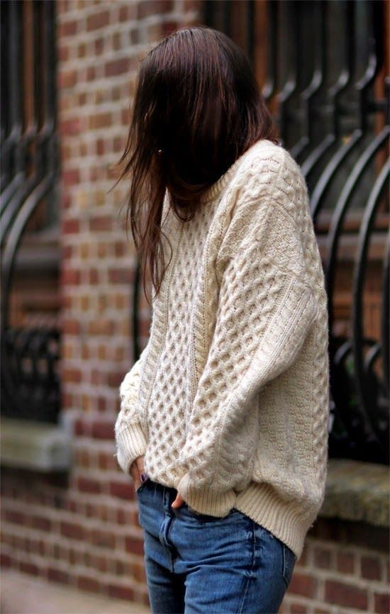 chunky sweater, jeans