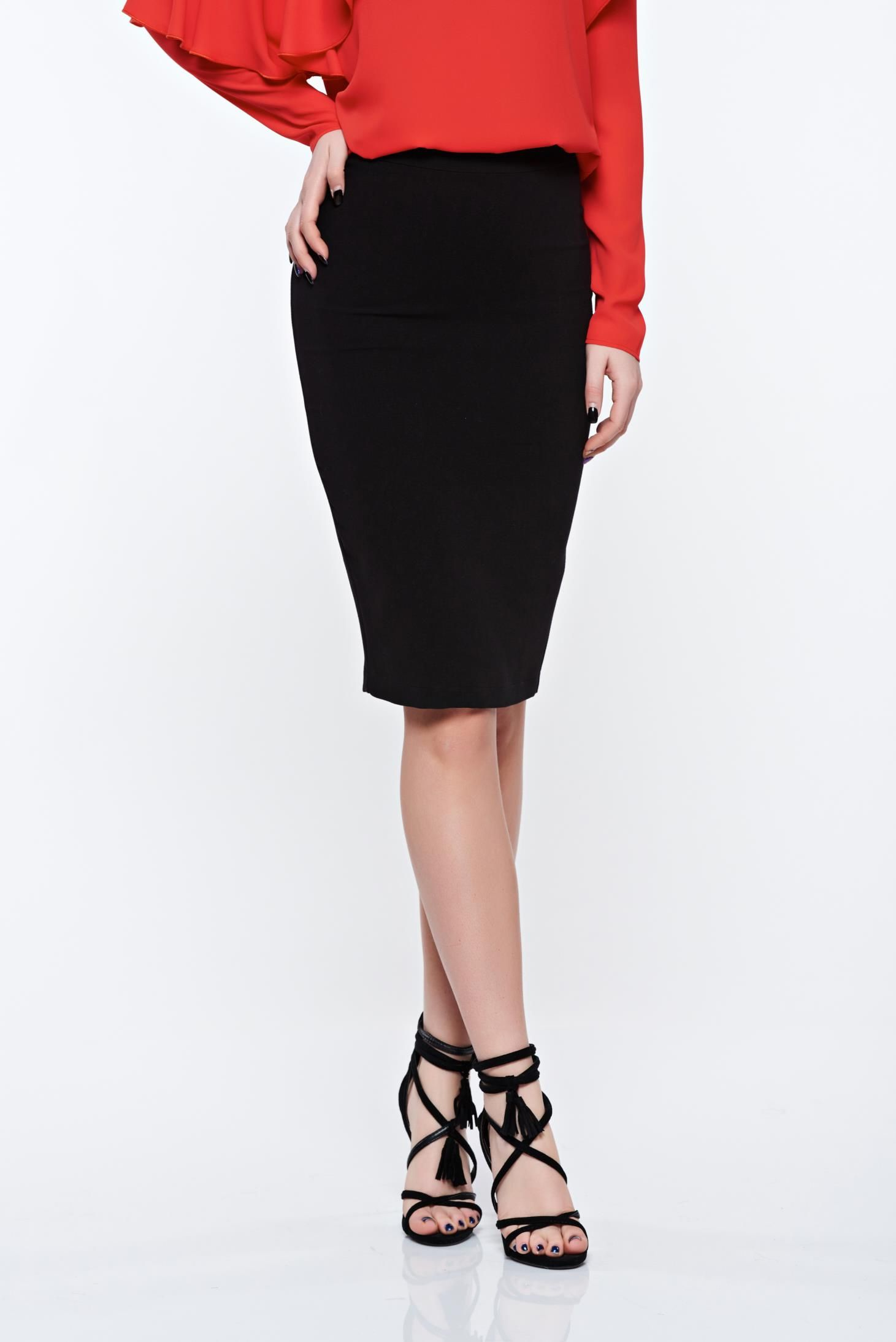 LaDonna black office pencil skirt slightly elastic fabric with inside  lining 9a7d7e360