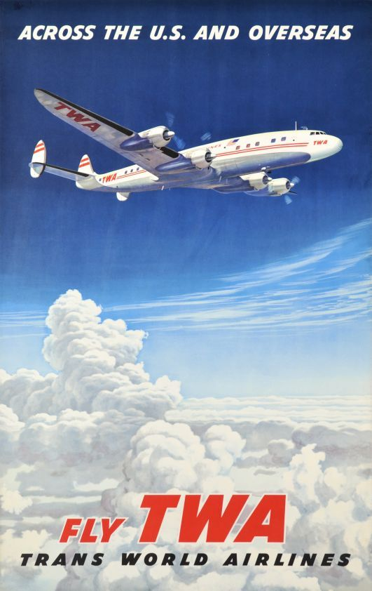 TWA Trans World Airlines 1950s Vintage Style Aviation Travel Poster 24x36