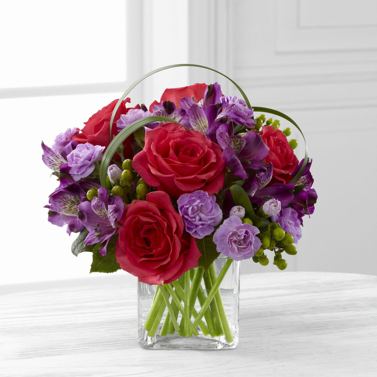 Be Bold Bouquet Purple flower arrangements, Red flower