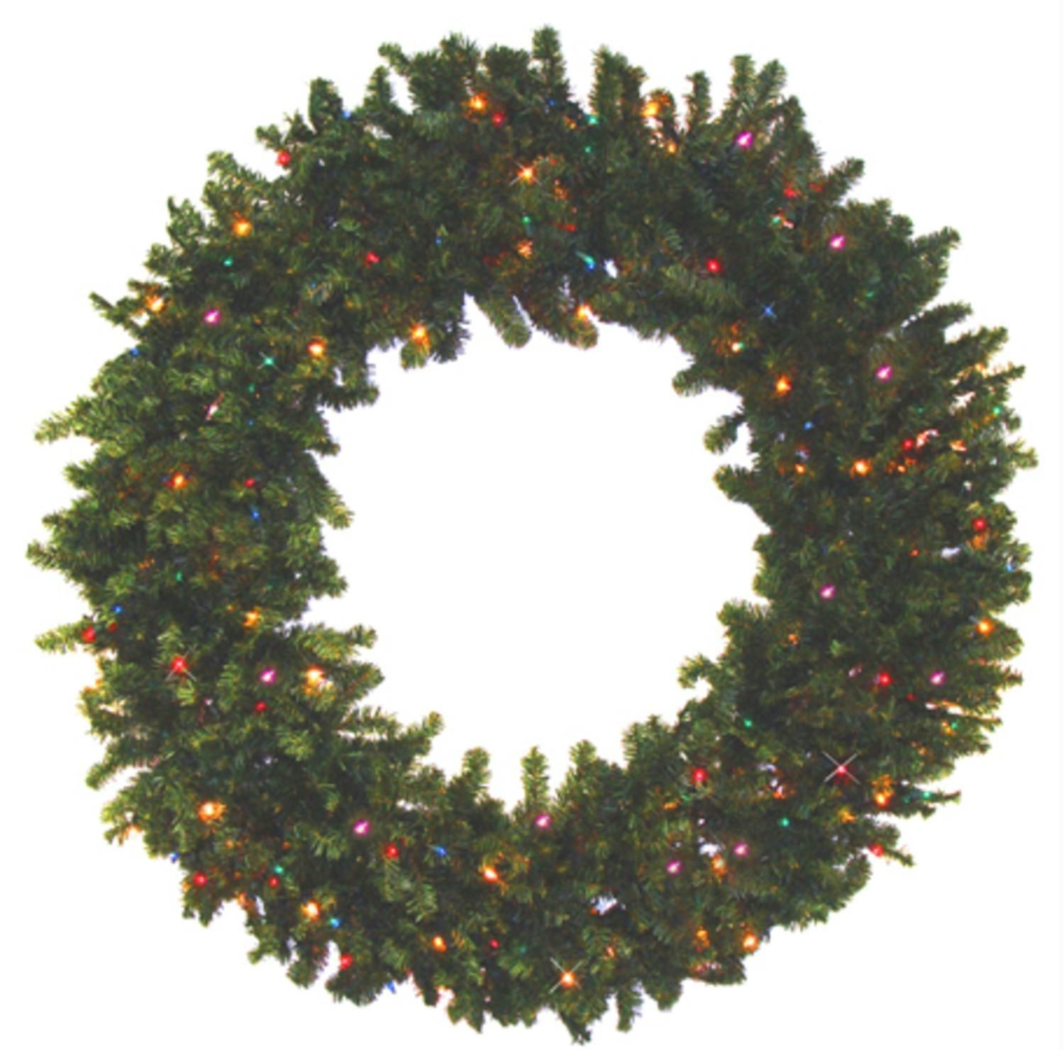 36 Pre Lit Battery Operated Canadian Pine Christmas Wreath  Multi