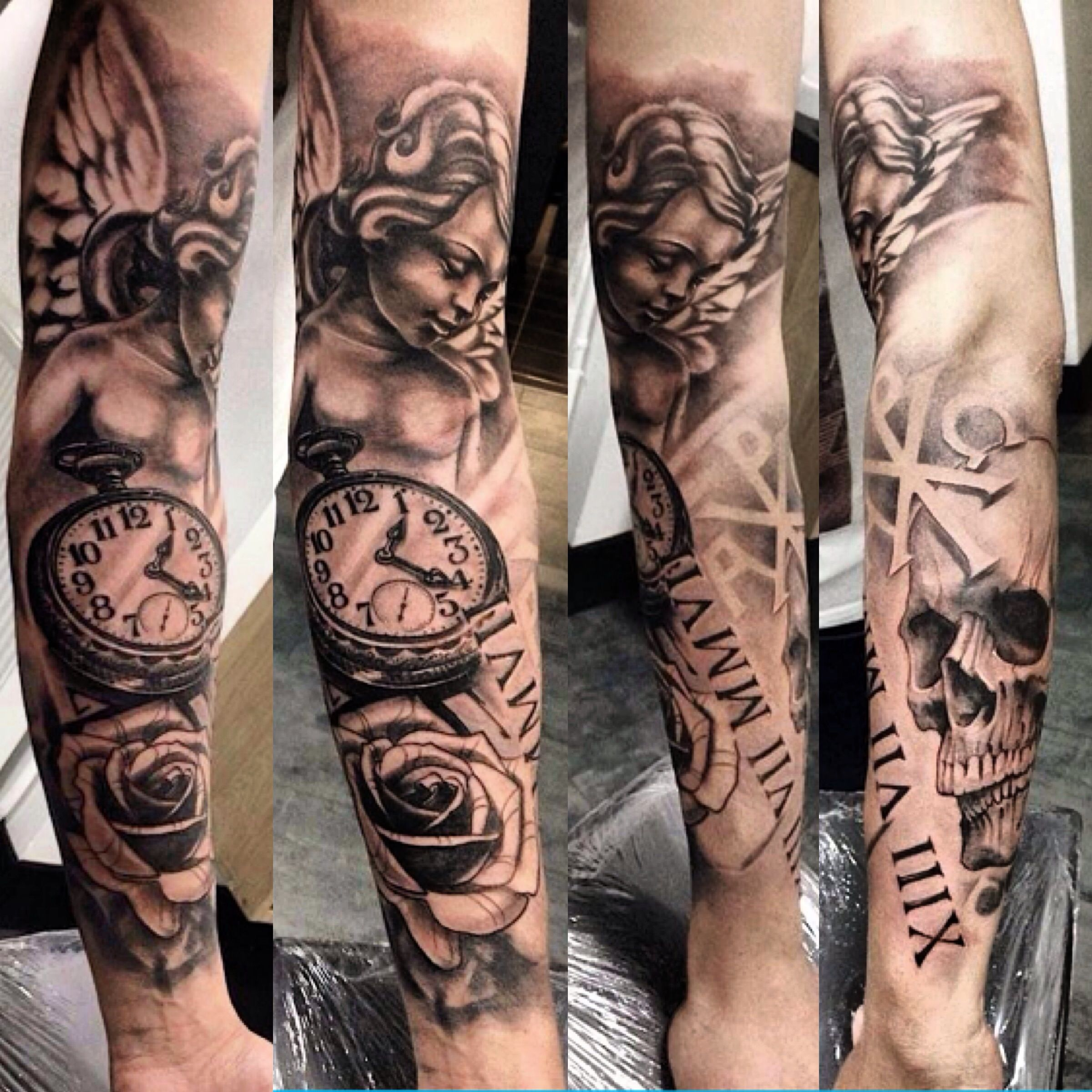 Clock forearm black rose sleeve tattoo -  Angel Clockwork Skull Roses Sleeve Tattoo Tattoos Ink
